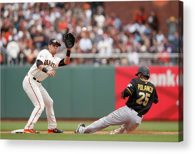 San Francisco Acrylic Print featuring the photograph Joe Panik and Gregory Polanco by Ezra Shaw