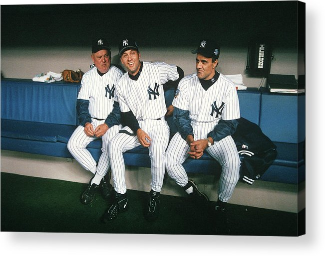 American League Baseball Acrylic Print featuring the photograph Joe Torre, Derek Jeter, and Don Zimmer by Rich Pilling