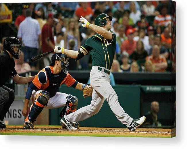 American League Baseball Acrylic Print featuring the photograph John Jaso by Scott Halleran