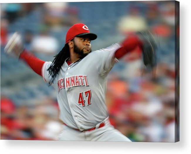 Three Quarter Length Acrylic Print featuring the photograph Johnny Cueto by Rob Carr