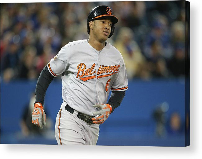 American League Baseball Acrylic Print featuring the photograph Jonathan Schoop by Tom Szczerbowski