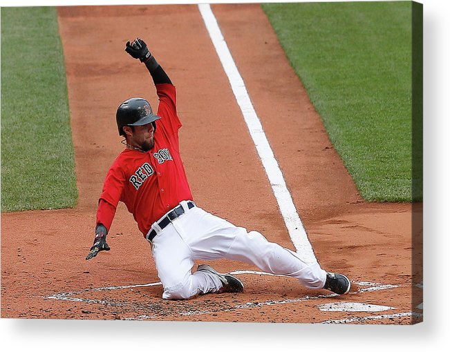 American League Baseball Acrylic Print featuring the photograph Jonny Gomes and Dustin Pedroia by Jim Rogash