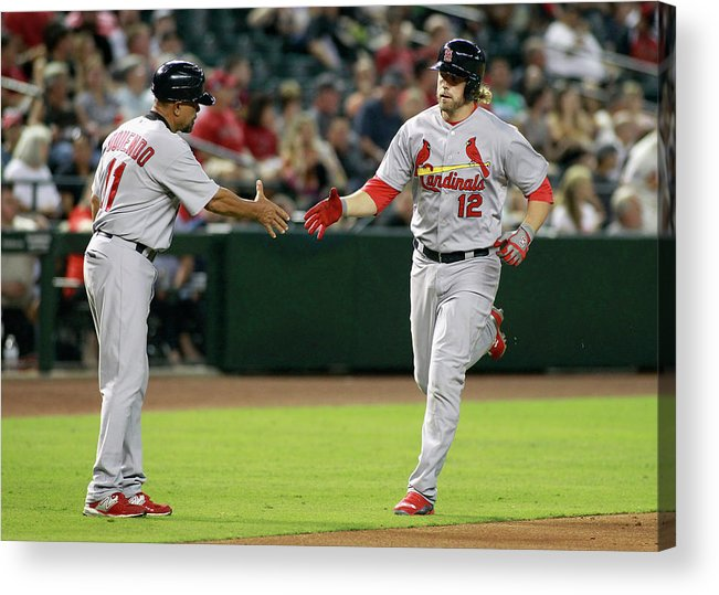 St. Louis Cardinals Acrylic Print featuring the photograph Jose Oquendo and Mark Reynolds by Ralph Freso