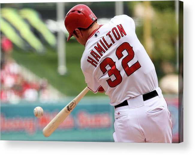 American League Baseball Acrylic Print featuring the photograph Josh Hamilton by Stephen Dunn