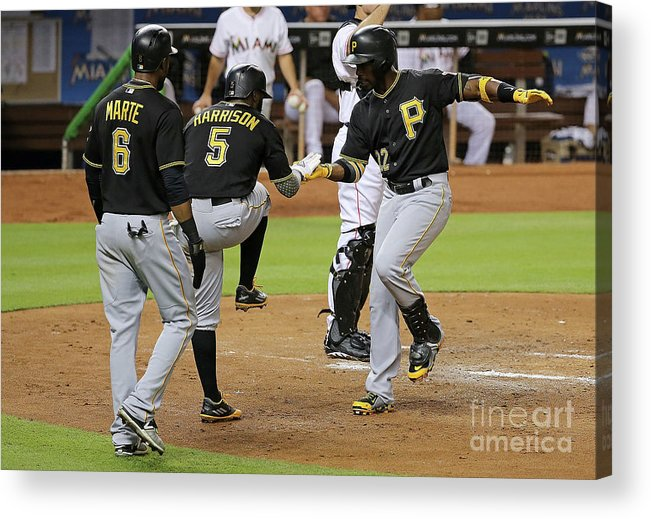 People Acrylic Print featuring the photograph Josh Harrison, Andrew Mccutchen, and Starling Marte by Mike Ehrmann