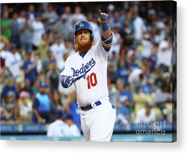 Three Quarter Length Acrylic Print featuring the photograph Justin Turner by Victor Decolongon