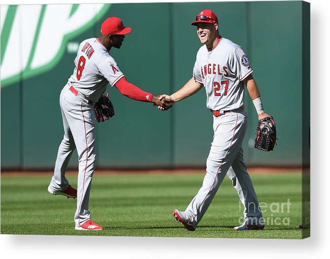 American League Baseball Acrylic Print featuring the photograph Justin Upton and Mike Trout by Thearon W. Henderson