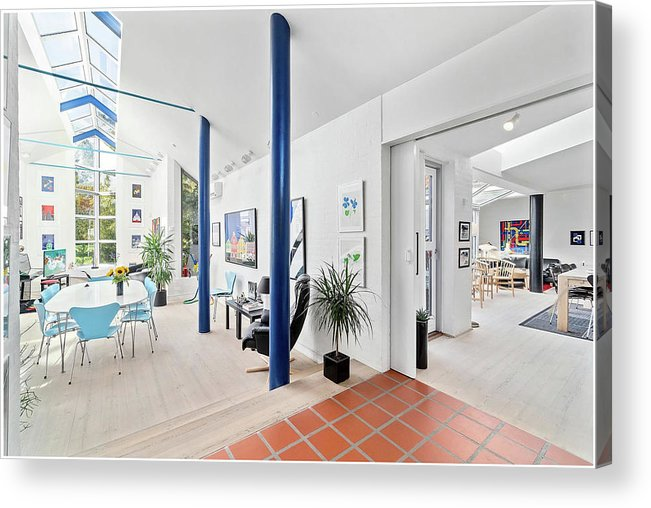 X-factor House In Hedensted Acrylic Print featuring the mixed media Knights Hall and livingroom by Asbjorn Lonvig