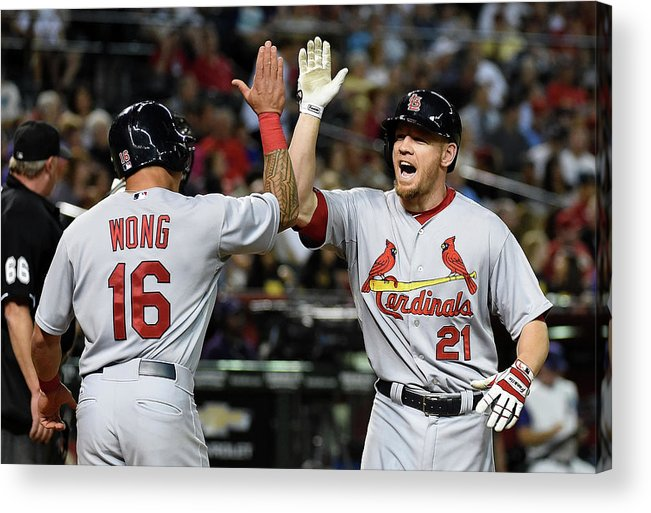 St. Louis Cardinals Acrylic Print featuring the photograph Kolten Wong and Brandon Moss by Norm Hall