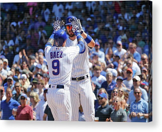 Following Acrylic Print featuring the photograph Kris Bryant and Javier Baez by Nuccio Dinuzzo