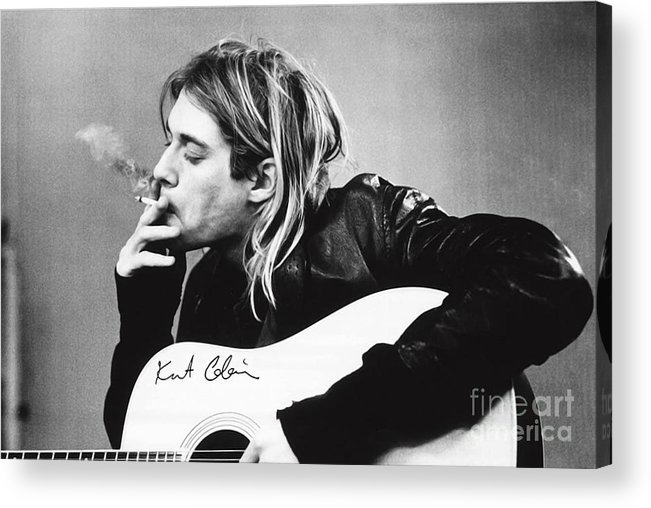 Kurt Cobain Acrylic Print featuring the photograph KURT COBAIN - SMOKING POSTER - 24x36 MUSIC GUITAR NIRVANA by Trindira A