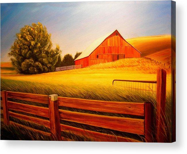 Wheat Acrylic Print featuring the painting La Crosse Barn by Leonard Heid
