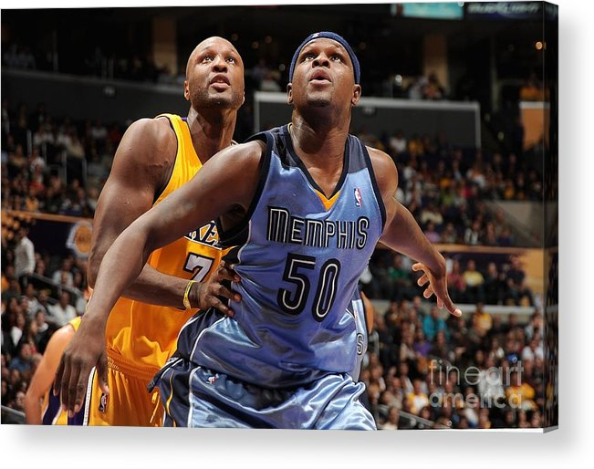 Nba Pro Basketball Acrylic Print featuring the photograph Lamar Odom and Zach Randolph by Andrew D. Bernstein
