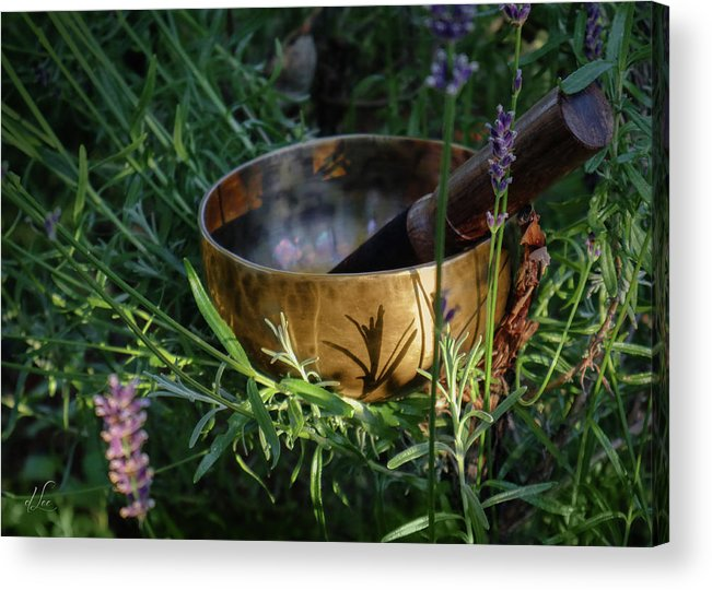 Singing Bowl Acrylic Print featuring the photograph Lavender Vibrations Singing Bowl by D Lee