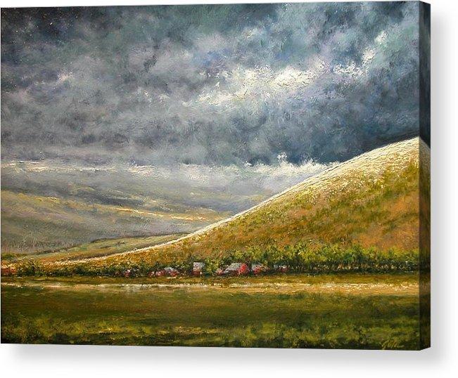 Landscape Acrylic Print featuring the painting Lightburst-Jackson Hole by Jim Gola