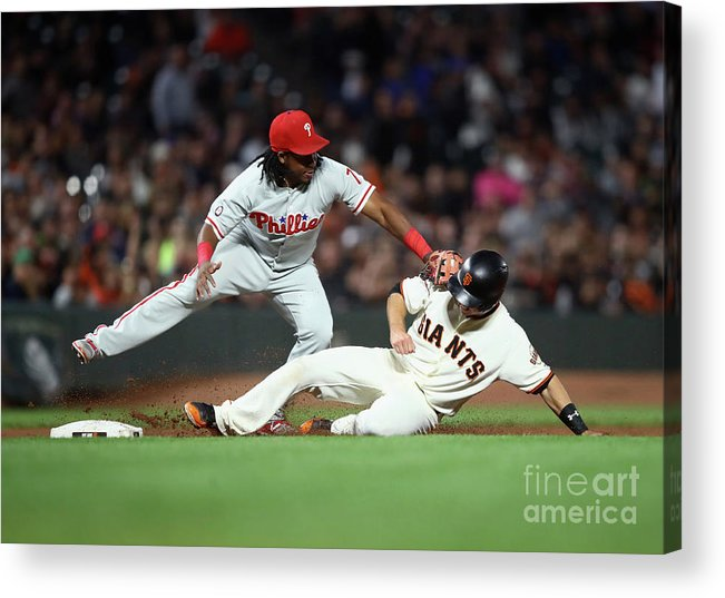 San Francisco Acrylic Print featuring the photograph Maikel Franco and Buster Posey by Ezra Shaw