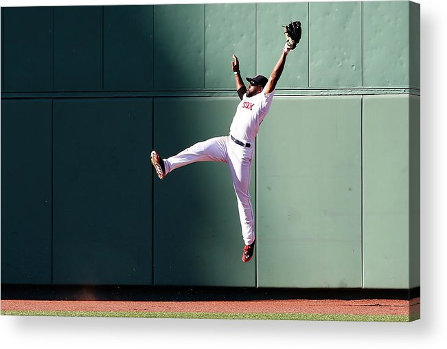 People Acrylic Print featuring the photograph Manny Machado and Jackie Bradley by Jim Rogash