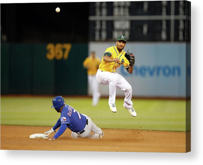 Double Play Acrylic Print featuring the photograph Marcus Semien and Shin-soo Choo by Ezra Shaw