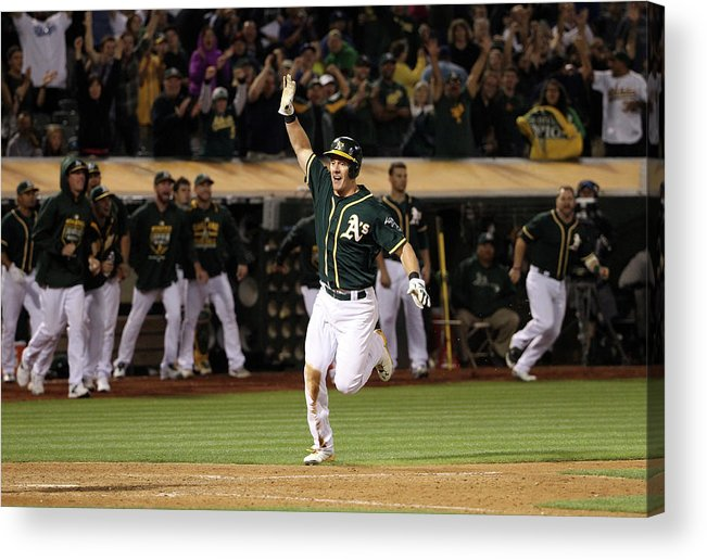 People Acrylic Print featuring the photograph Mark Canha and Billy Butler by Ezra Shaw