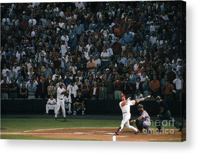 Season Acrylic Print featuring the photograph Mark Mcgwire and Roger Maris by Bill Stover