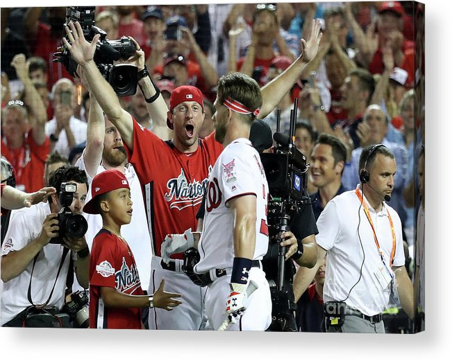 People Acrylic Print featuring the photograph Max Scherzer and Bryce Harper by Rob Carr