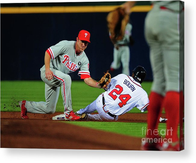 Atlanta Acrylic Print featuring the photograph Michael Bourn and Chase Utley by Scott Cunningham
