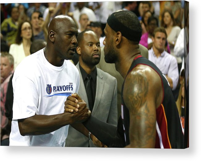 Playoffs Acrylic Print featuring the photograph Michael Jordan and Lebron James by Streeter Lecka