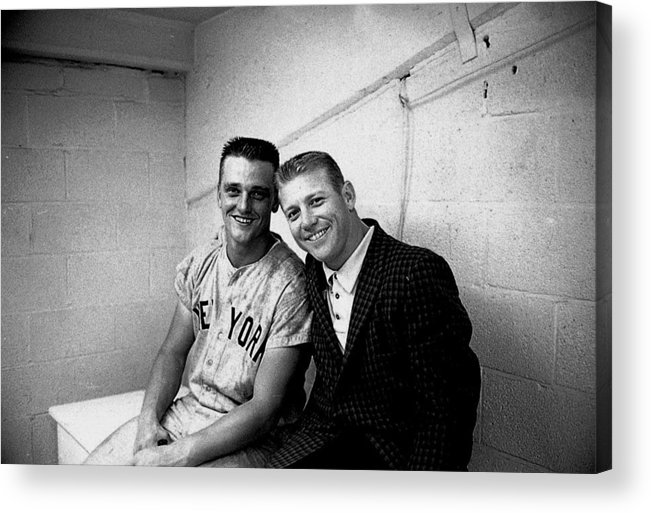 American League Baseball Acrylic Print featuring the photograph Mickey Mantle and Roger Maris by Herb Scharfman/sports Imagery