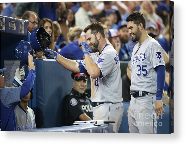 People Acrylic Print featuring the photograph Mike Moustakas, Eric Hosmer, and Ned Yost by Tom Szczerbowski