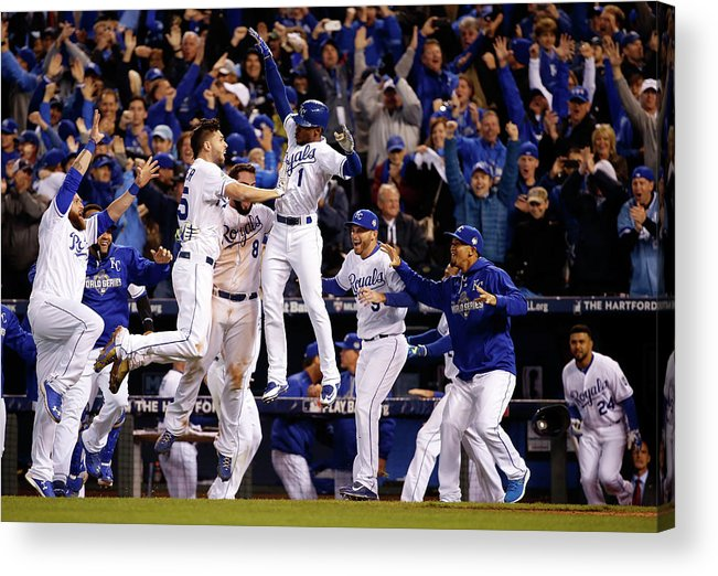 People Acrylic Print featuring the photograph Mike Moustakas, Jarrod Dyson, and Eric Hosmer by Sean M. Haffey