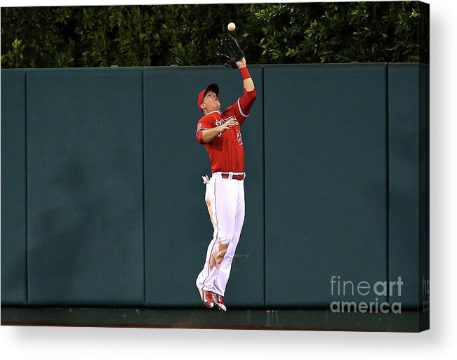 People Acrylic Print featuring the photograph Mike Trout and Eduardo Escobar by Stephen Dunn