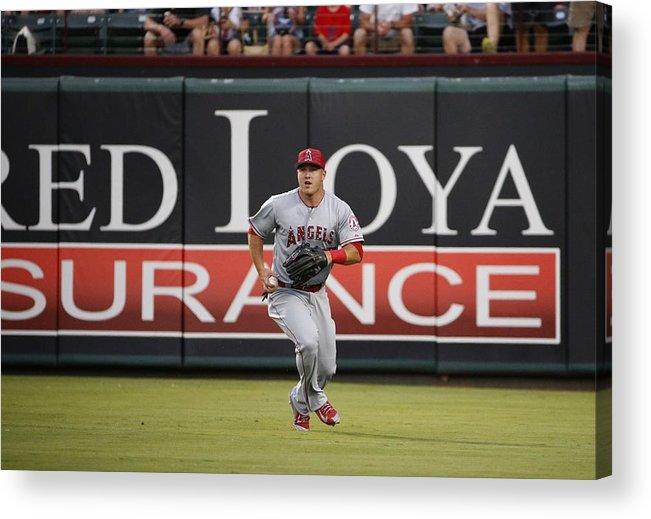 People Acrylic Print featuring the photograph Mike Trout by Ron Jenkins