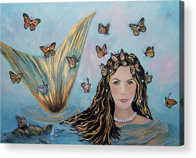 Mermaid Acrylic Print featuring the painting More Precious Than Gold by Linda Queally