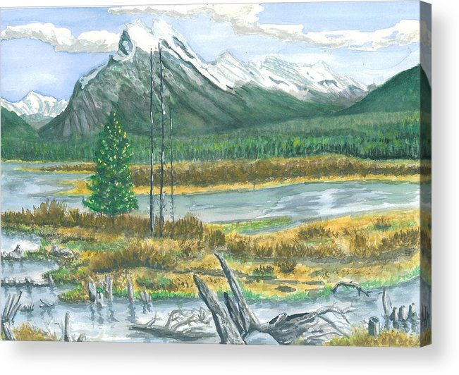 Mountains And Stream Acrylic Print featuring the painting Mount Rundle Canadian Rockies by Dan Bozich