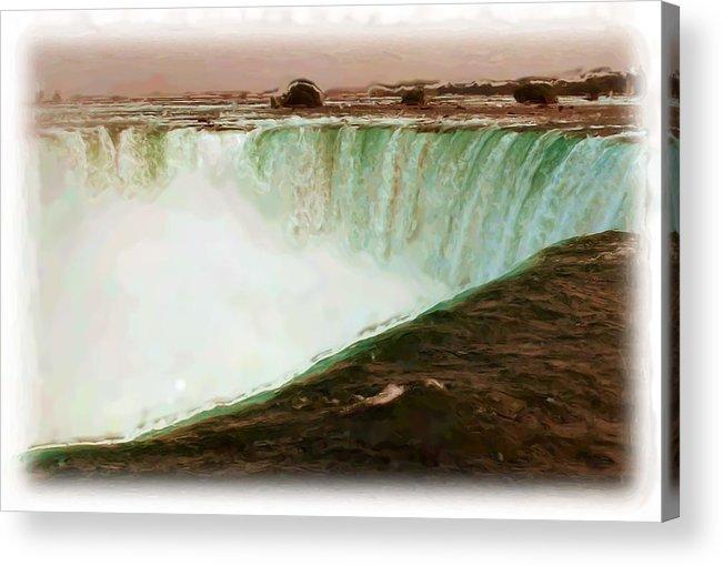 Niagara Falls Acrylic Print featuring the mixed media Niagara Falls by Asbjorn Lonvig