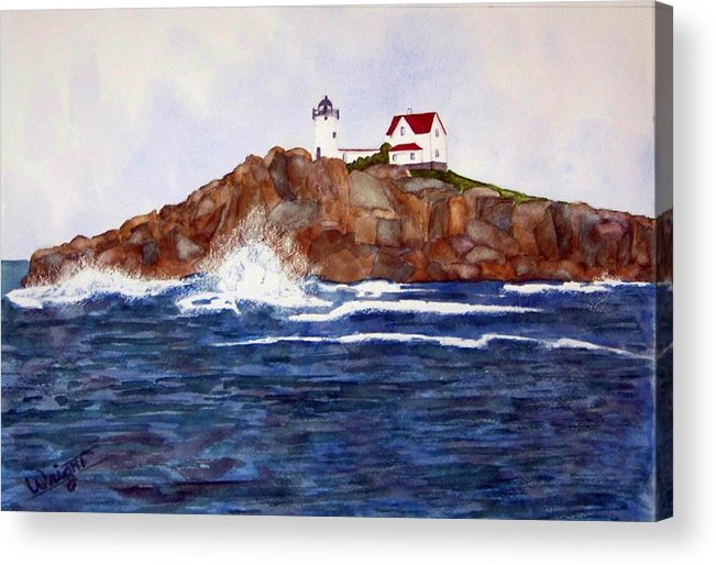 Lighthouse Acrylic Print featuring the painting Nubble Light SOLD by Larry Wright
