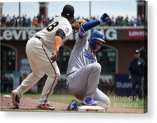 San Francisco Acrylic Print featuring the photograph Pablo Sandoval and Joc Pederson by Thearon W. Henderson