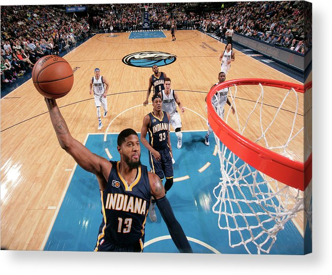 Nba Pro Basketball Acrylic Print featuring the photograph Paul George by Glenn James