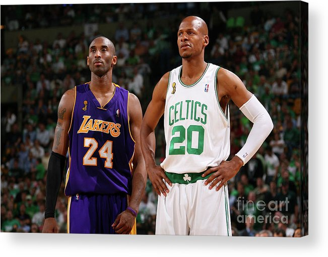 Nba Pro Basketball Acrylic Print featuring the photograph Ray Allen and Kobe Bryant by Jesse D. Garrabrant