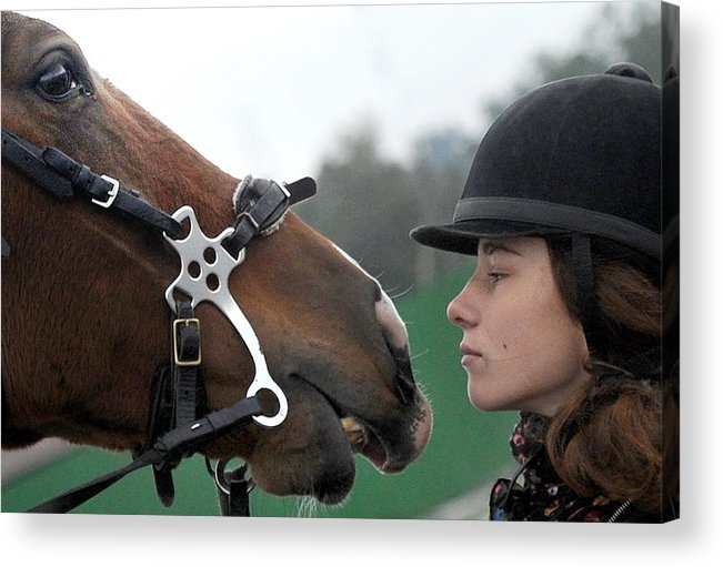 Horse Acrylic Print featuring the photograph Riding school in Minsk Region, Belarus by Viktor Drachev