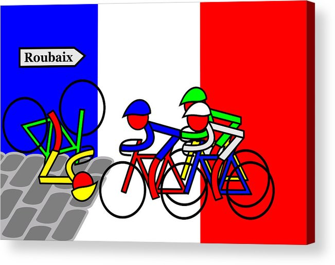 Roubaix Acrylic Print featuring the mixed media Roubaix by Asbjorn Lonvig