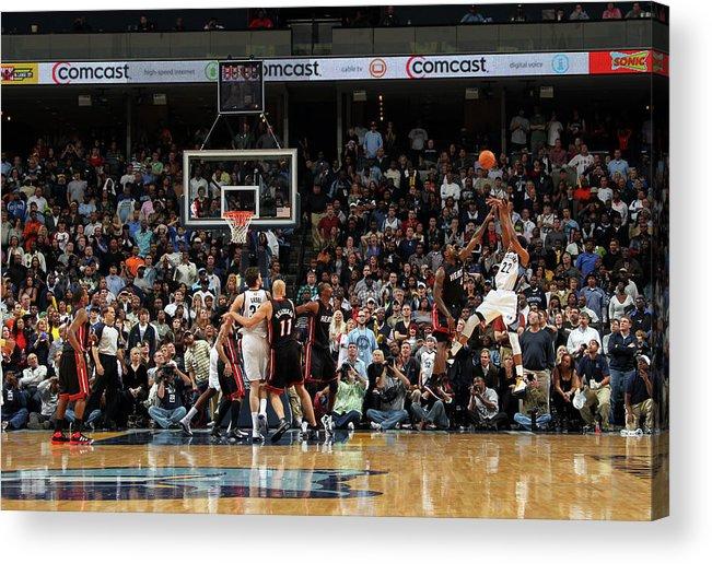 Nba Pro Basketball Acrylic Print featuring the photograph Rudy Gay and Lebron James by Joe Murphy
