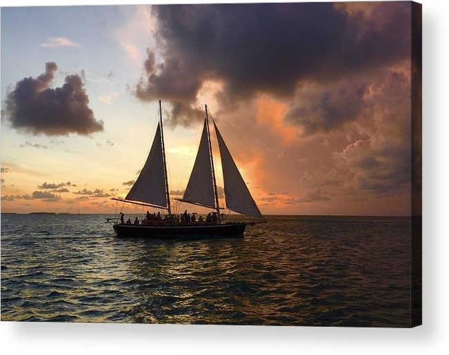 Orange Color Acrylic Print featuring the photograph Sailboat Moving On River Against Cloudy Sky by Gerard Corbett / EyeEm