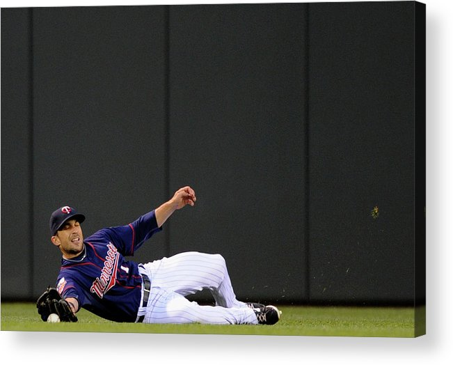American League Baseball Acrylic Print featuring the photograph Sam Fuld and Alcides Escobar by Hannah Foslien
