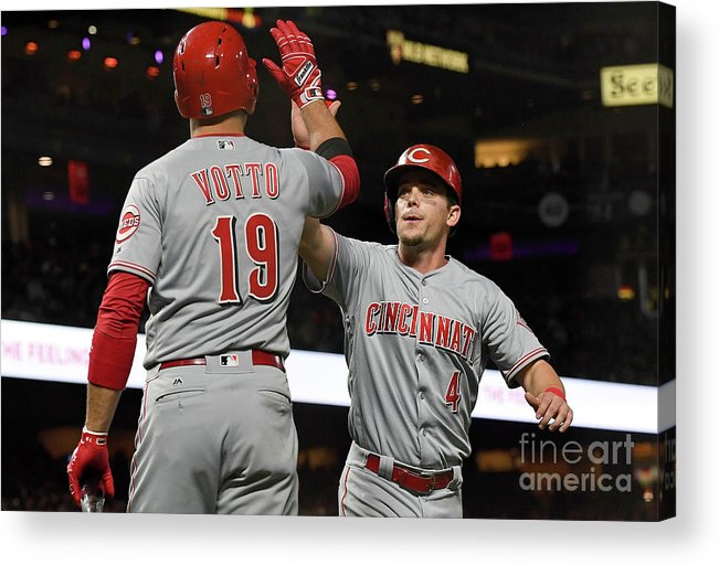 San Francisco Acrylic Print featuring the photograph Scooter Gennett and Joey Votto by Thearon W. Henderson