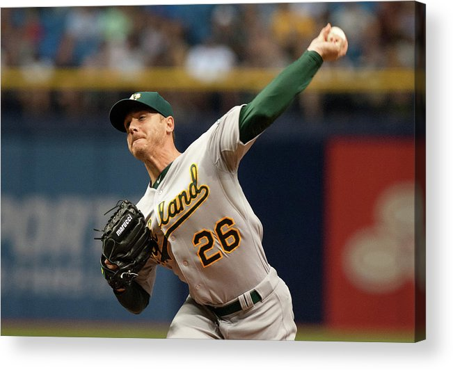 Three Quarter Length Acrylic Print featuring the photograph Scott Kazmir by Cliff Mcbride