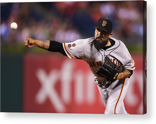 Three Quarter Length Acrylic Print featuring the photograph Sergio Romo by Drew Hallowell