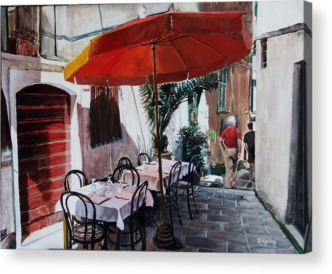 Cafe Acrylic Print featuring the painting Red Umbrella Outdoor Cafe by Jennifer Lycke