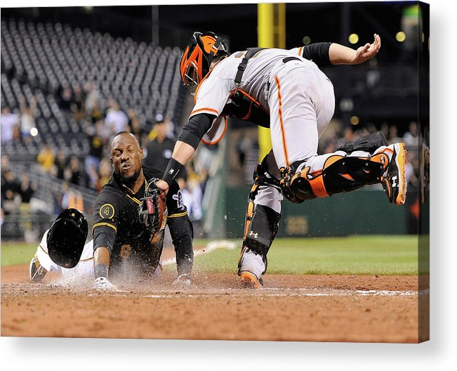 Ninth Inning Acrylic Print featuring the photograph Starling Marte and Buster Posey by Joe Sargent