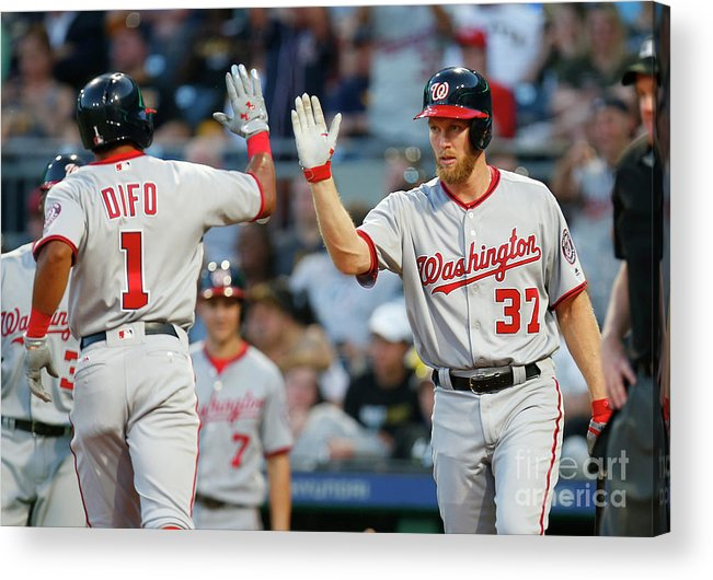 Three Quarter Length Acrylic Print featuring the photograph Stephen Strasburg and Wilmer Difo by Justin K. Aller